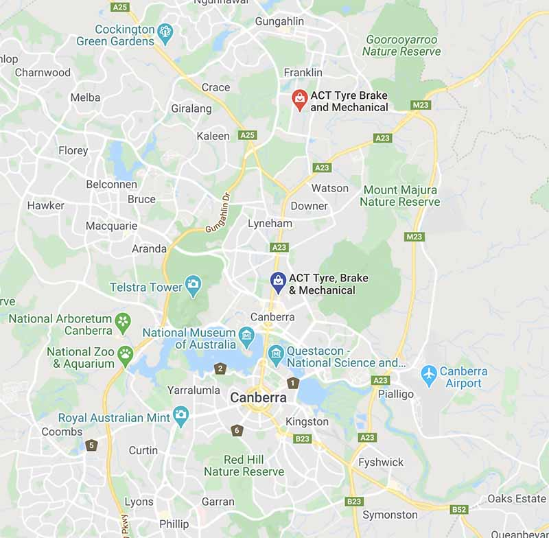 ACT Tyre Brake & mechanical Braddon & Mitchelle Map Locations